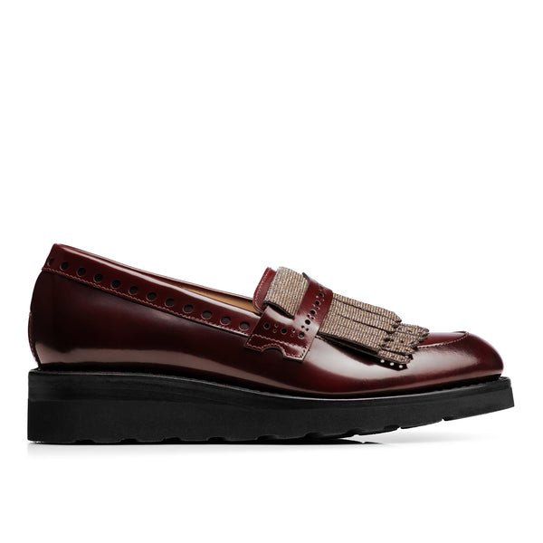 Mr. Pennywise Bordeaux Metallic Patent Leather Women's Wedge Loafer