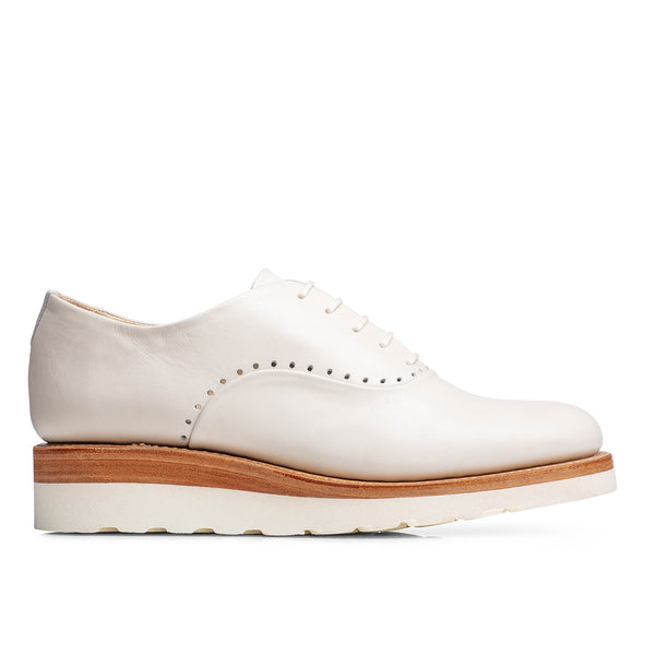 Mr. Simone Cream Leather Women's Wedge Oxford