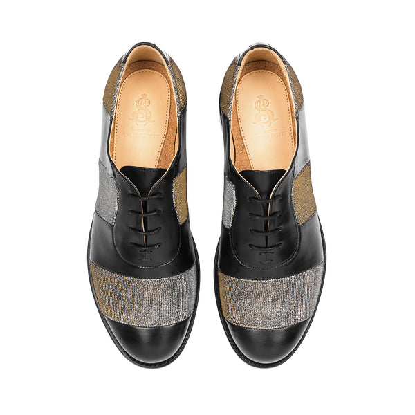 Mr. Smith Black Metallic Striped Women's Oxford