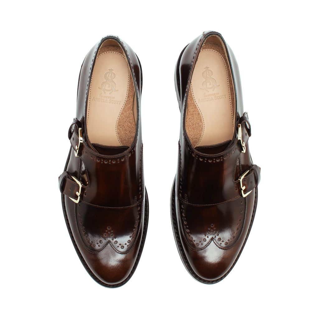 Mr. York Brown Leather Women's Lug Monkstrap Oxford