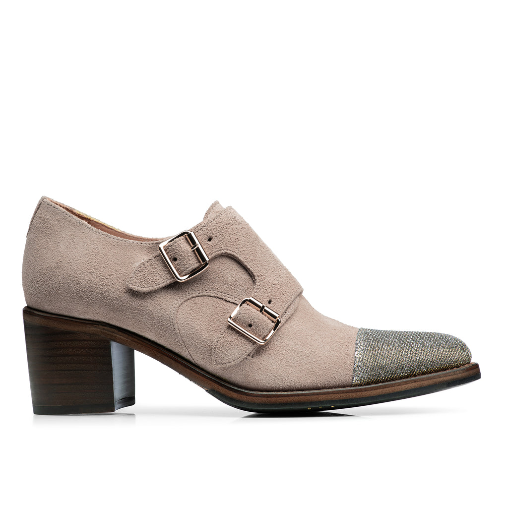 Mrs. Colins Tan Suede Leather Metallic Women's Mid Heel Monkstrap