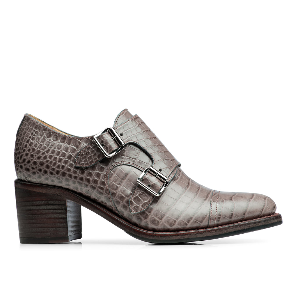 Mrs. Colins Taupe Croc Leather Women's Mid Heel Monkstrap