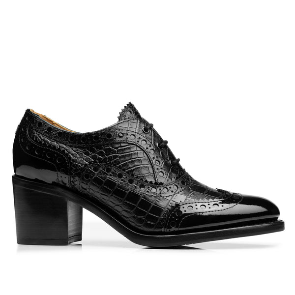 Mrs. Doubt Black Croc Leather Women's Mid Heel Brogue