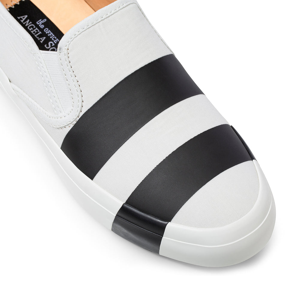 the Hammonds Black & White Striped Women's Slip On Sneaker