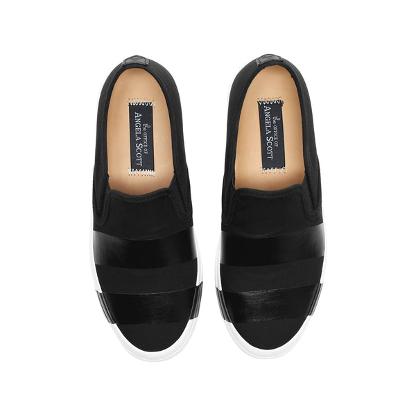 the Hammonds Black Striped Women's Slip On Sneaker