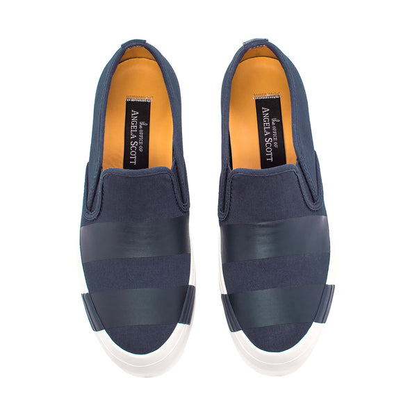 the Hammonds Navy Striped Women's Slip On Sneaker