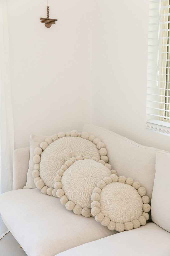 Monte Pom Pom Cushion #1 Mini | Natural