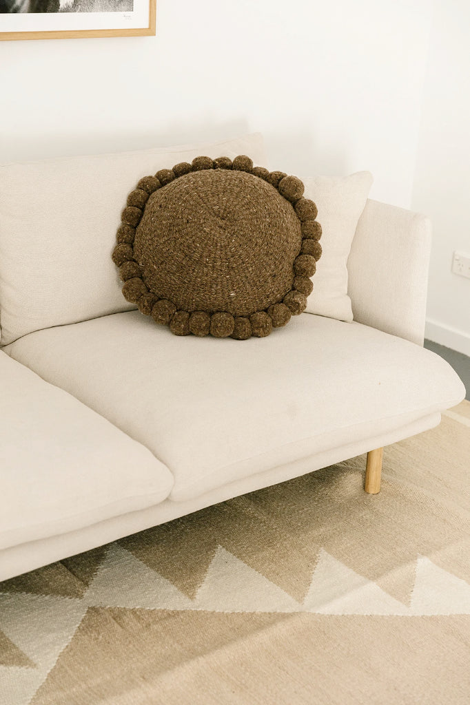 Monte Pom Pom Cushion #1 Large | Walnut
