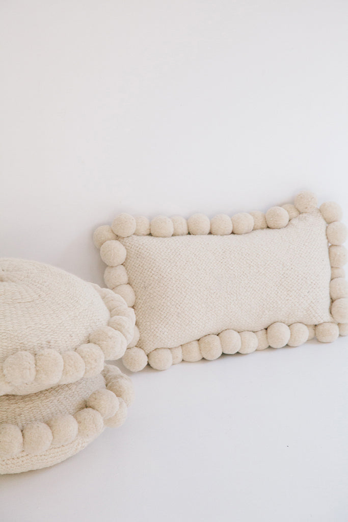 Monte Lumbar Pom Pom Cushion #3 | Natural
