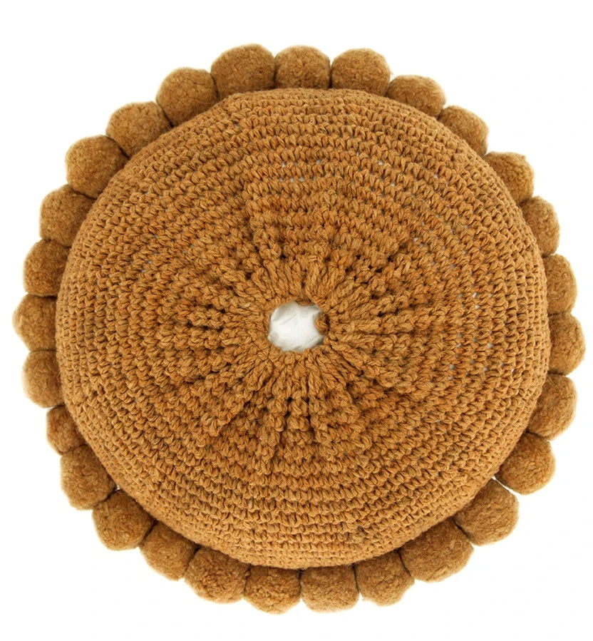 Monte Pom Pom Cushion #1 Large | Burnt
