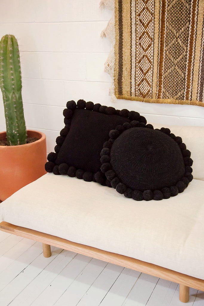 Monte Pom Pom Cushion #1 Large | Black