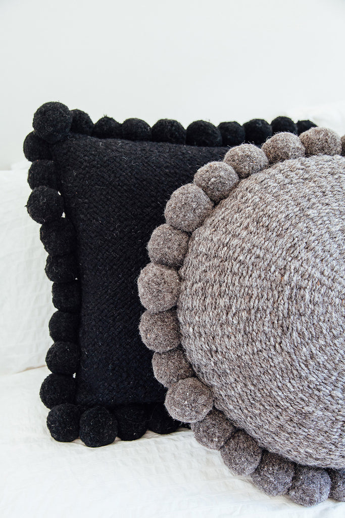 Monte Pom Pom Cushion #2 Large | Black