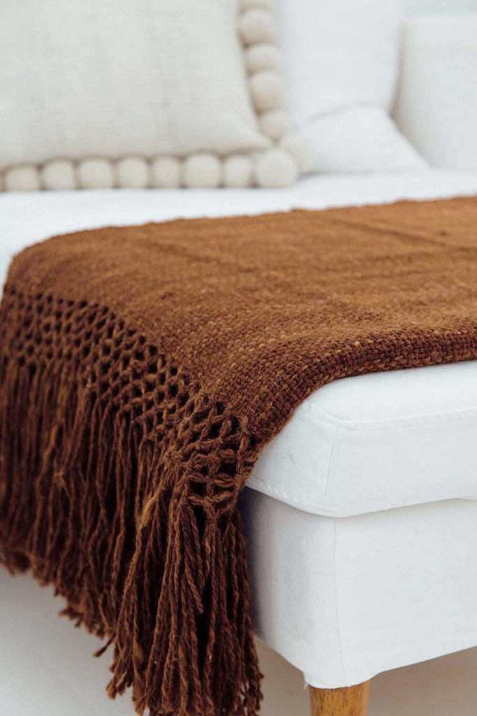 Puna llama throw / Tobacco