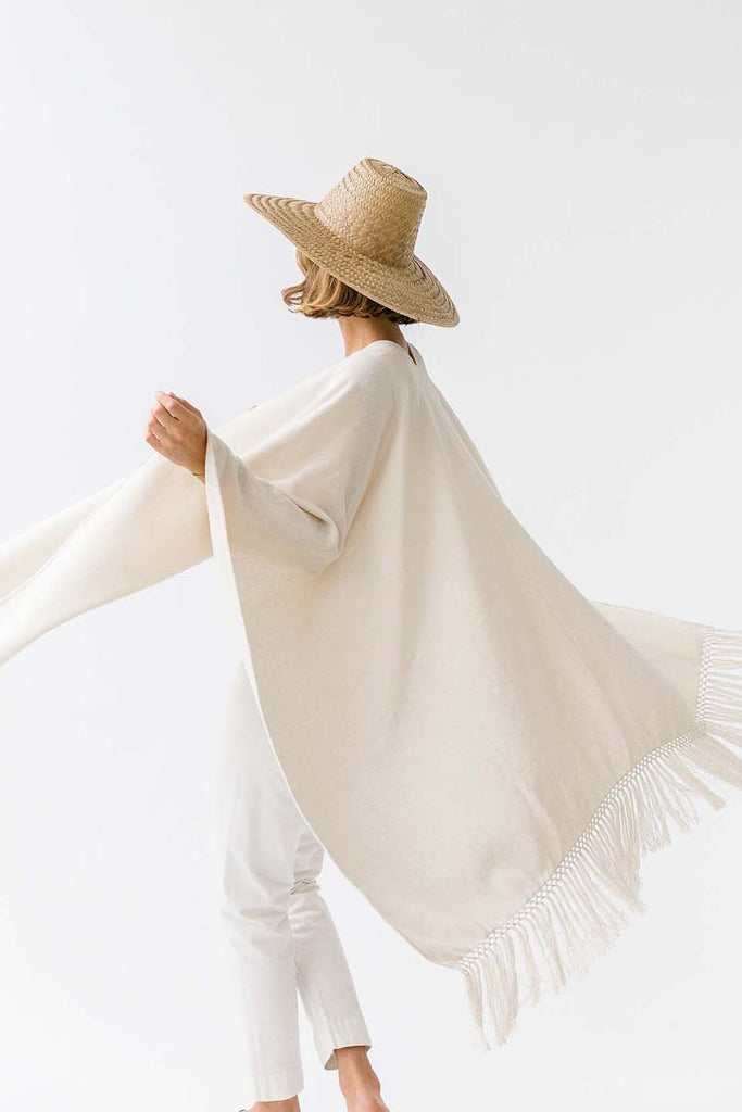 Pampa cotton poncho | White