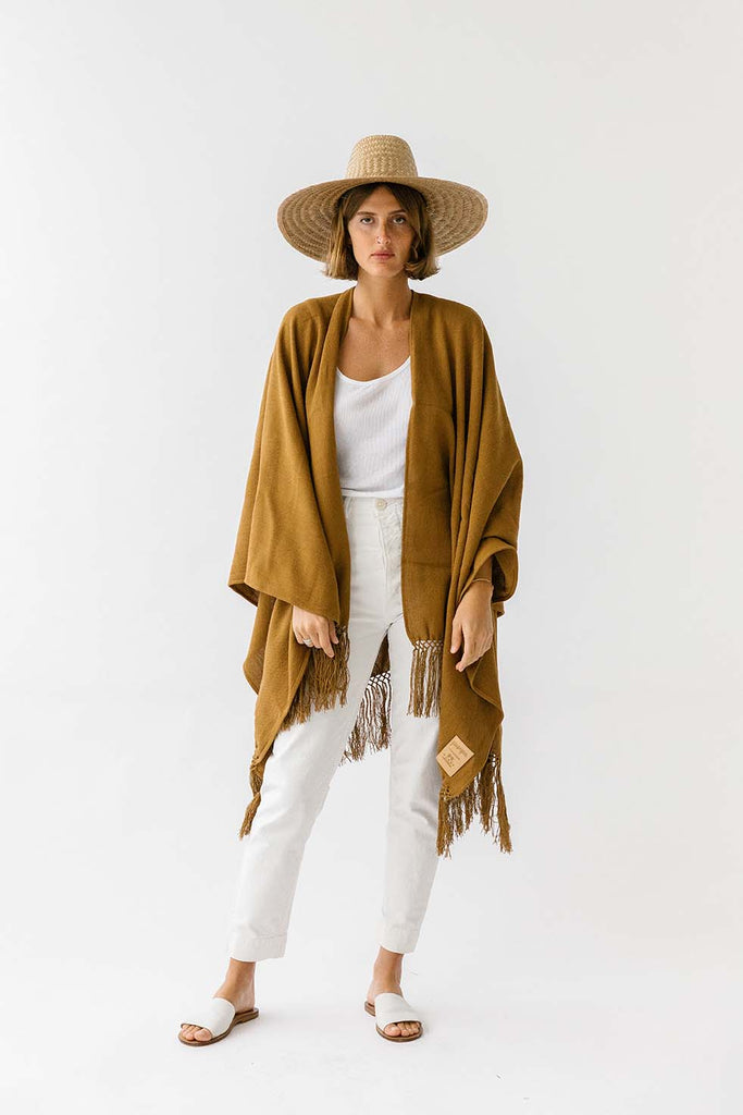 Pampa cotton poncho | Tobacco