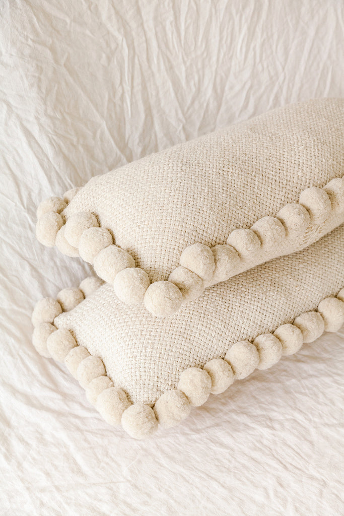 Monte Lumbar Pom Pom Cushion #2 XL | Natural