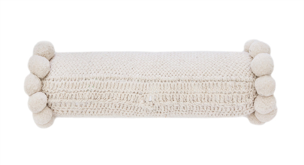 Monte Bolster Pom Pom Cushion #13 | Natural