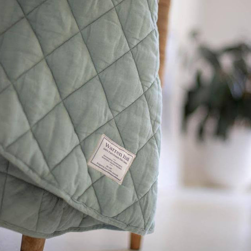 Quilted Linen Baby Play Mat in Seagrass