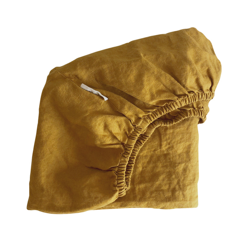 Cot Fitted Sheet – Mustard Linen