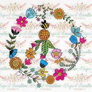 Floral Peace Sign Layered Digital Cut File