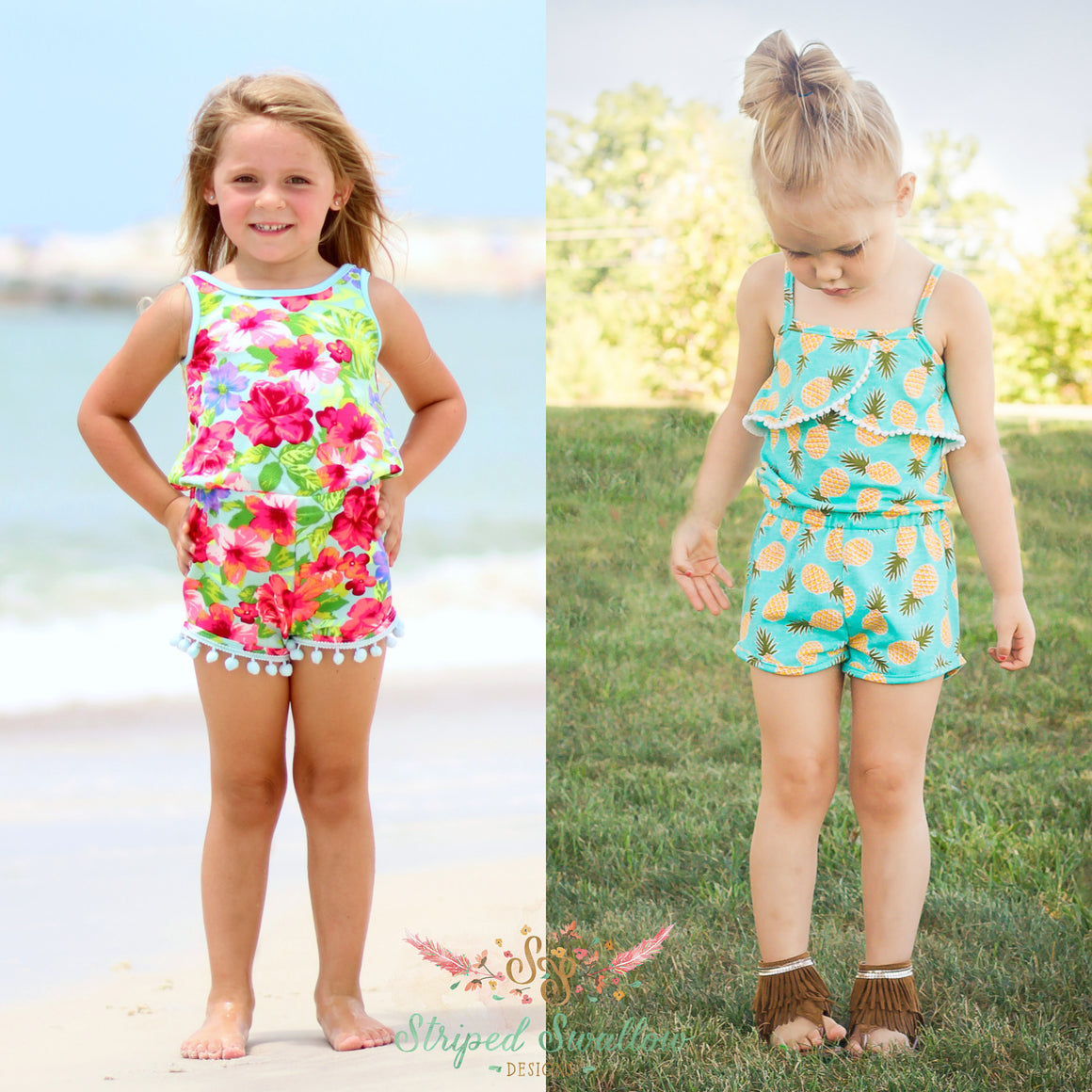 1692bf4505 Emerie Romper and Crop Top PDF Pattern 2T-12yrs