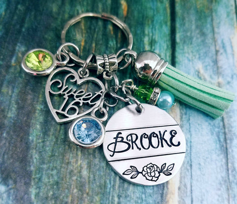 Personalized Sweet 16 Keychain - New Car Accessories - Tassel Keychain