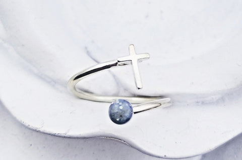 Sterling Silver Cross Cremation Ring