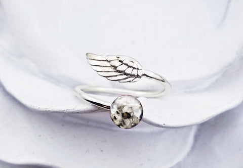 Sterling Silver Angel Wing Cremation Ring