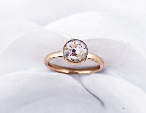 14k Rose Gold or Gold Plated Cremation Ring/6mm stone