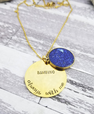 Personalized Gold Plated Cremation Necklace - Memorial Necklace made with ashes
