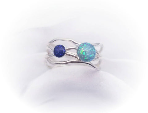 Double Cremation Ring- Sterling Silver