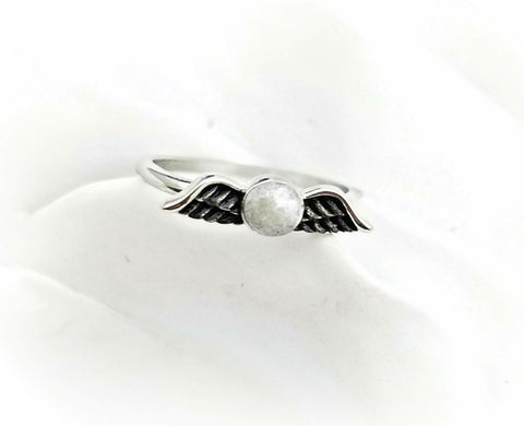 Angel Wing Cremation Ring - Urn Ring with Ashes - Custom Memorial Ring -  Cremation Jewelry - Child Loss Ring - Cremation Birthstone Ring - Pet Loss Gift