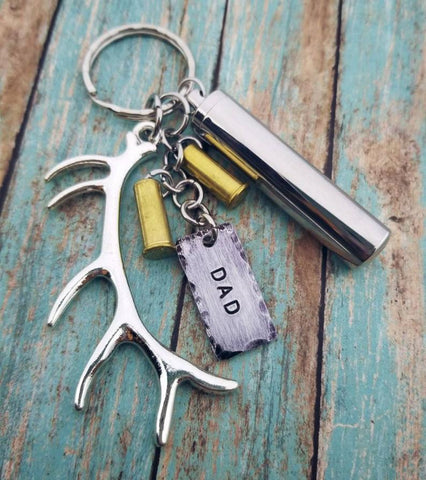 Personalized Antler Bullet Urn Keychain