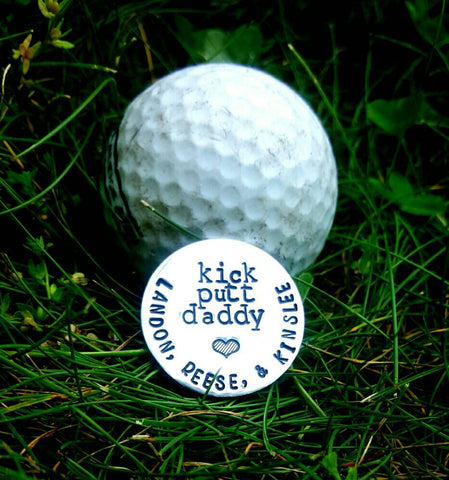 Golf Marker - Kick Putty Daddy - Custom Golf Marker - Dad Gift - Grandpa Gift - Gifts for Him - Pewter - Golfer Gift - Personalized Marker