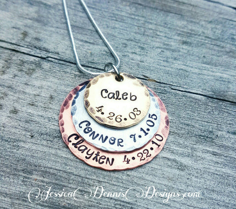 Mother's Mixed Metals Necklace - New Mom Gift - Mother's day - Personalized Hand Stamped - Birthstone Necklace - Layered Disc Necklace