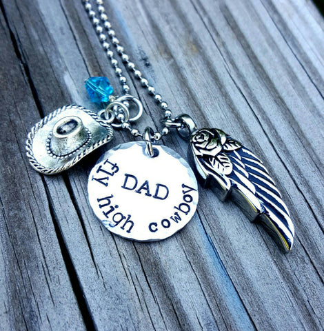 Cremation Necklace - Memorial Keepsake - Memorial Jewelry - In Memory of - Customized Urn - Ashes Angel Wing - Cowboy Dad - Angel Wing
