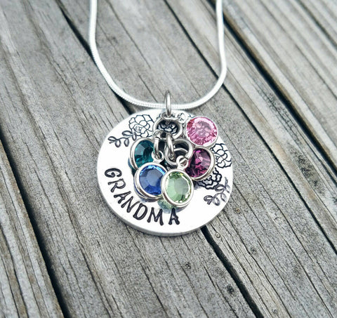 Custom Made Grandma Mom Mother Aunt Necklace - Birthstone Necklace - Mother's Jewelry - Gifts for Her - Rose Necklace - Flower Washer