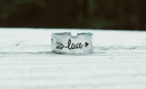 Love Arrow Hearts Toe Ring - Summer Jewelry - Summertime - Hypoallergenic - Non Tarnish - Adjustable - Hand Stamped - Custom made