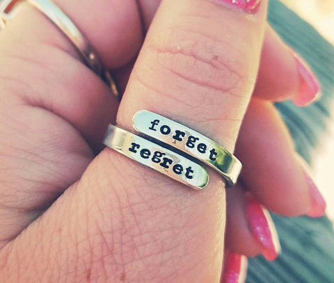 Custom wording wrap ring - Hypoallergenic - Custom Hand stamped ring - Mother's Ring - Engagement gift - Wife Birthday - Best friend ring
