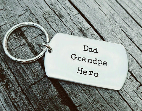 Dad Grandpa Hero Dog Tag Keychain - Dad Birthday Gift - Father's day gift - Custom Hand Stamped dog tag - Personalize as you'd like