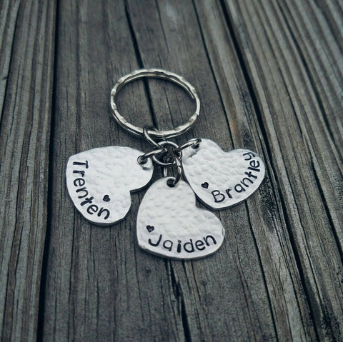 Personalized Name Keychain - Mom Keychain - Custom Hand Stamped - Heart Keychain with children's names - Aunt Godmother Mom Grandma