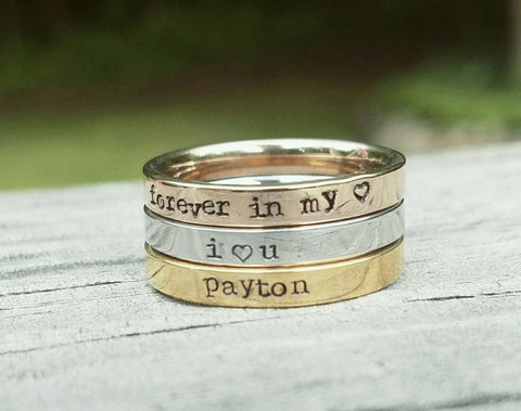Stacking Personalized Ring Wear Alone Or As A Set Stainless Steel Hand Stamped Rings Name Ring Rose Gold Gold And Silver Custom