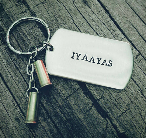 IYAAYAS Keychain - Bullet Shells - Hand stamped dog tag Daddy Grandpa Uncle Father's day Birthday *Limited Quantity!* Air Force