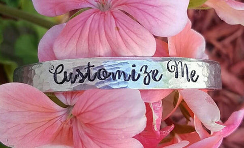 Custom Hand Stamped Bangle Cuff Bracelet - You choose words - Hypoallergenic - One size - Teen Gift - Mom Gift - Daughter - Niece - Sweet 16