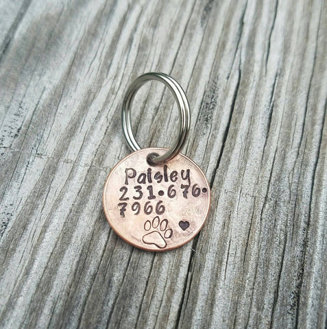 Penny Dog ID Tag - Hand Stamped Penny - Custom Made Pet ID - Pet Identification Tag - Dog Name Phone Number Tag - Pet Lost Tag