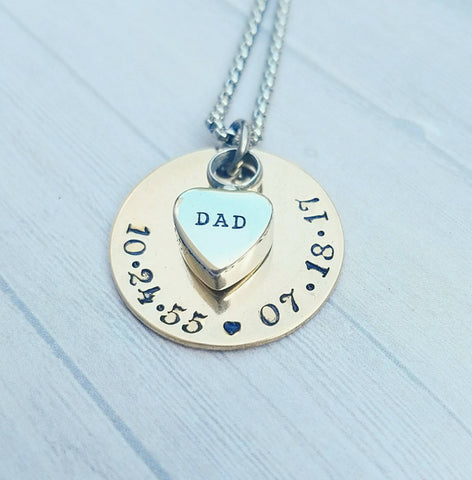 Cremation Necklace Father Loss Custom Made Urn Necklace Dates Jessica Dennis Designs