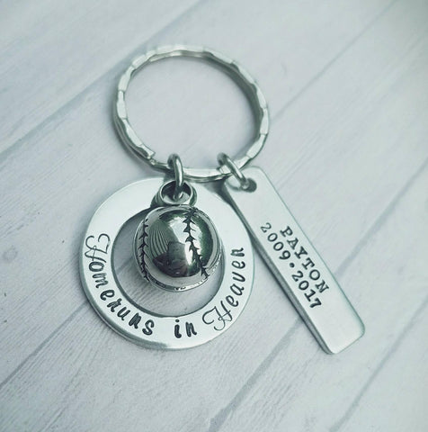 Cremation Jewelry - Homeruns in Heaven - Baseball Urn Key Ring - Urn Necklace or Keychain - Baseball Cremation Key chain - Childloss