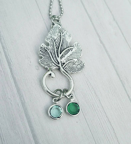 Long chain leaf necklace - Swarovski Crystal Necklace - Birthstones - Party Jewelry - Statement Jewelry - Hand Made - Custom Necklace