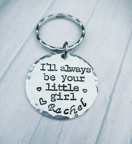 I'll always be your little girl keychain - Hand Stamped - Typewriter- Personalized - Father of the bride - Custom Keychain - Father's Day