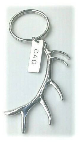 Large Antler Keychain with hand stamped name tag Daddy Grandpa Uncle Name Hunter Father's day Birthday
